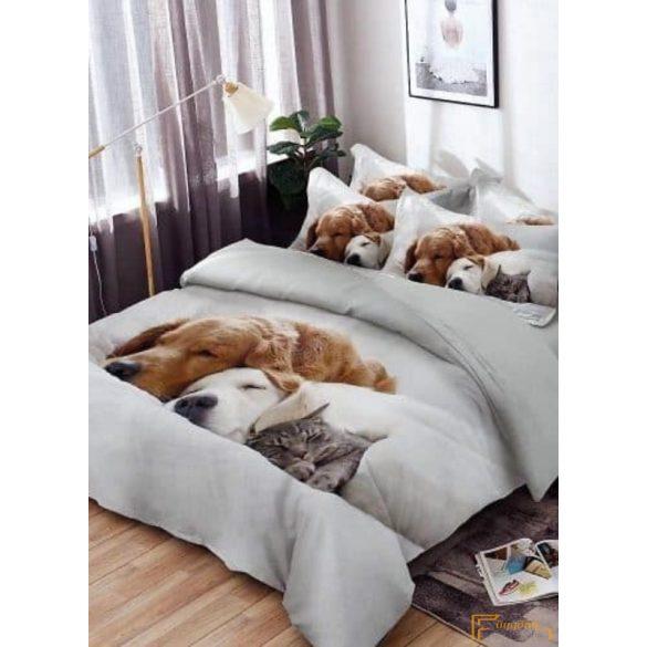 3D ágynemű - Kutya macska barátság ágyneműhuzat (Pihenő kisállatok)